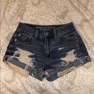 Lace ripped American eagle jean shorts